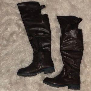 Dark brown knee high boots